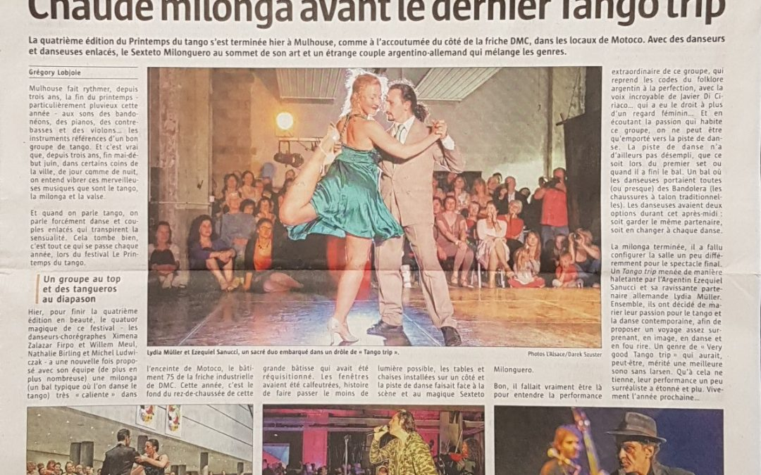 Tango Trip at the front page of the newspaper L'Alsace!!!