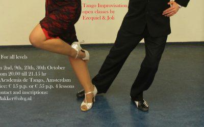 The Tango Improvisation open classes by Ezequiel & Joli are back!